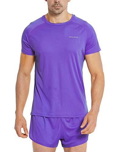 BALEAF Men's Quick Dry Short Sleeve T-Shirt Running Workout Shirts Purple Size L