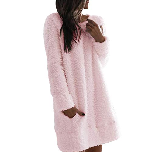 YANFANG Suéter de Invierno de Moda para Mujer, Jersey de Invierno Cuello Redondo, Mezcla de algodón, de Color sólido Vestidos Casuales de Felpa, L,Pink
