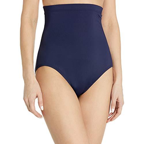Anne Cole Women's Color Blast Solids Super High Waist Shape Control Bikini Bottom, Navy, Large