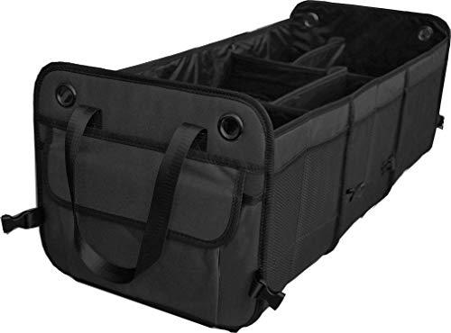 Cutequeen Black Trunk Organizer Back Seat Protector Storage Organizer Multi Compartments Collapsible Portable for SUV Car Truck Auto