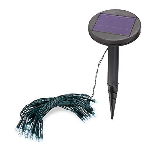 Solar Premium Lichterkette 2,5m für Sommer und Winter - 24 kaltweiße LEDs, Lichtfarbe 6000K, 2 Betriebsmodi - extragroßes Qualitäts-Solarmodul - Party Weihnachten Solarleuchte Garten esotec 102165