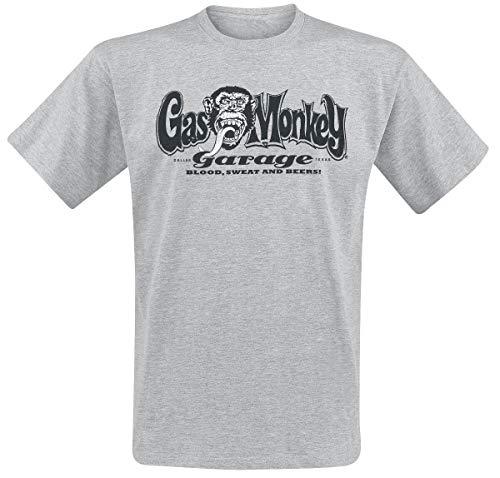 Gas Monkey Garage Hands Hombre Camiseta Gris L, 90% algodón, 10% poliéster, Regular