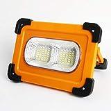 Luz de Trabajo Portátil LED Recargable de Solar 80W Luz de Inundación Portátil con Panel Solar & Base Magnética, 4 Modos Impermeable IP65, 11000mAh Puerto USB para Viaje, Acampar ,Reparación de Autos