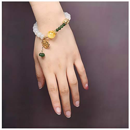 CHXISHOP Pulseras Hetian Jade para mujer, joyería de colocación de vestuario hecha a mano, pulseras de diseño, atraer a la suerte de la riqueza