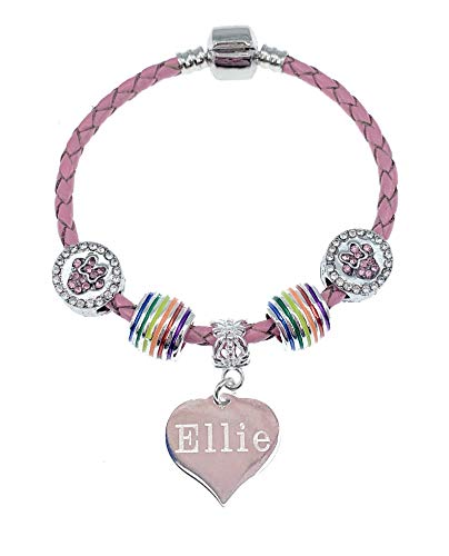 Jewellery Hut Personalised and Engraved Pink Leather Minnie Mouse Bracelet for Girls with Gift Box