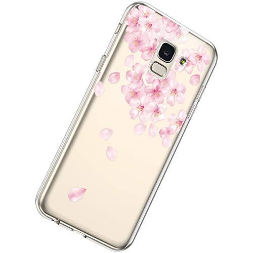 Herbests Compatible avec Coque Samsung Galaxy A6 2018 Silicone Housse Transparent Etui de Protection avec Motif Mince Clair Soft Doux Souple TPU Gel Caoutchouc Bumper Case Cover,Pétale