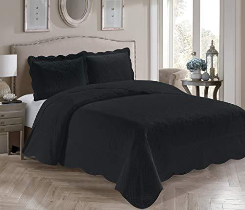 Coleção Fancy 3 peças colcha luxuosa em relevo capa para cama sólida nova tamanho grande #Veronica (casal/queen, preto)