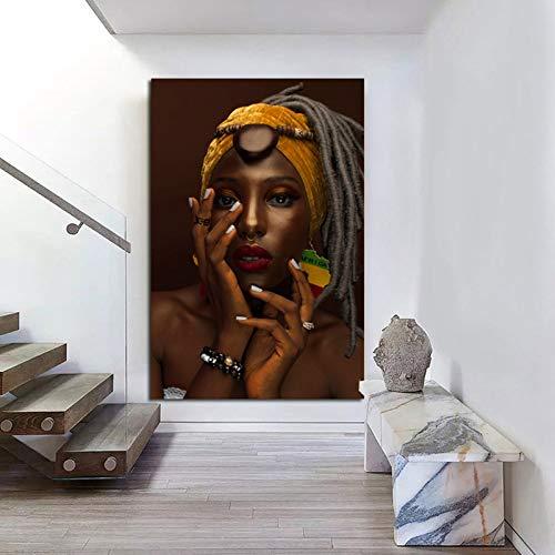 Wxuuly Arte Africano Mujer Pintura Impresiones en Lienzo Belleza Chica Carteles escandinavos Cuadro artístico de Pared para Sala de Estar decoración de Caballos A1 40x60 CM (sin Marco)