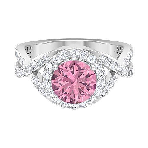 Anillo de compromiso con vástago espiral, D-VSSI 3 CT moissanite, anillo solitario de 8 mm con relleno de vidrio rubí, anillo de halo, 14K White Gold, Glass Filled Ruby, Size:US 49