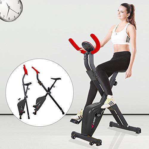pooboo Indoor Exercise Bike Compact X Bike Stationary Bike with LCD Display and Handlebar (Red)