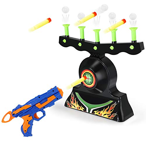 Theefun Electric Shooting Targets for Nerf Guns, Glow in The Dark Shooting Games for Kids with 1 Blaster Gun, 20 Soft Foam Balls & 13 Darts, Great Gift for Boys and Girls