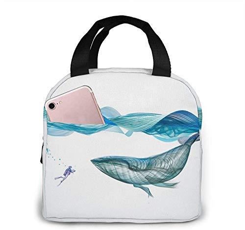 Bolsas de almuerzo con ilustración de ballena, lonchera con aislamiento portátil, bolsa refrigeradora, bolsa Bento para viajes / picnic / trabajo