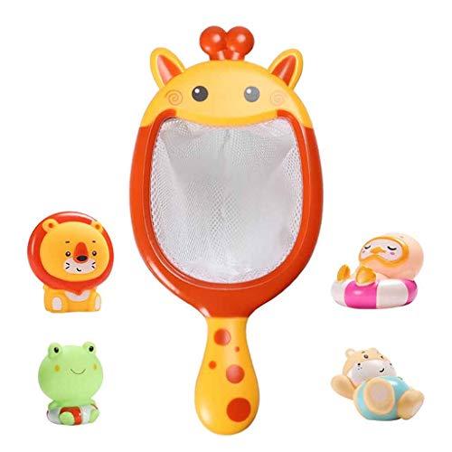 MiMiey Baby Baden Schwimmende Weiche Gummitiere Wasserwanne Spielzeug Spritzt Löffelnetz 1 Set Babybadespielzeug Schwimmbad Spielzeug Badewanne Pool Spielzeug
