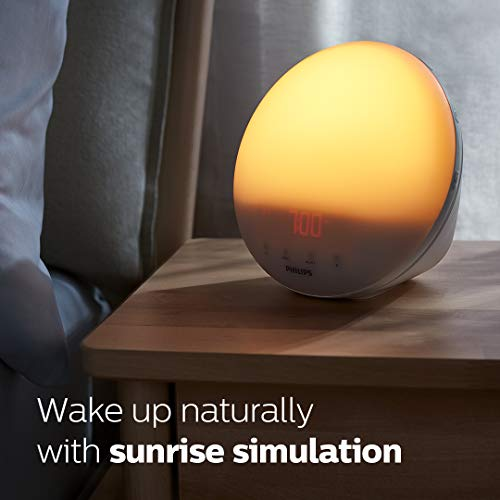 Philips SmartSleep Wake-up Light, Colored Sunrise and Sunset Simulation, 5 Natural Sounds, FM Radio & Reading Lamp, Tap Snooze, HF3520/60, White