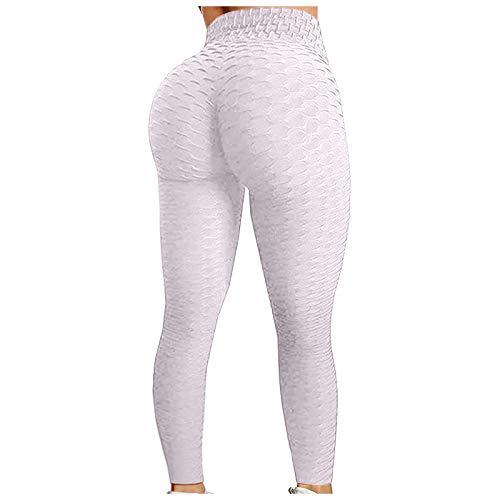 Leggins Mujer Push Up Leggings para Mujer Mallas de Deporte de Mujer Mallas Pantalones Deportivos Alta Cintura Elásticos Yoga Fitness Leggins Deportivos Leggings para Mujer (Blanco, XL)