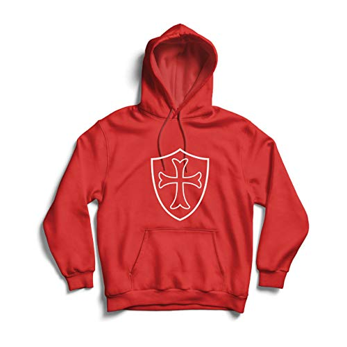 lepni.me Felpa con Cappuccio I Cavalieri Templari Scudo, Croce Rossa, Ordine dei Cavalieri Cristiani...