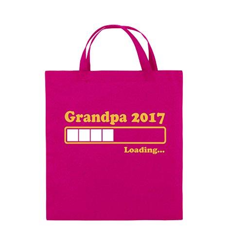 Comedy Bags - Grandpa Loading - Sac en toile de jute imprimé, sac en coton avec deux courtes anses en 100 % coton, 38 x 42 cm, sac en tissu pratique et solide, Toile, Rose/jaune/blanc.