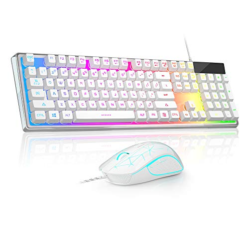 White K1C Wired Gaming Keyboard and Mouse Combo,BOXELF Rainbow Backlit Gaming Keyboard with Crystal Cover, 7 Colors LED Backlit Gaming Mouse 3200 DPI for PC Gamer Computer Desktop (White)
