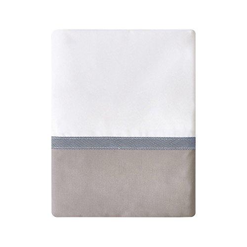 Essix - Drap Plat Toi & Moi Escale Percale de Coton Meringue/Taupe 240 x 300 cm