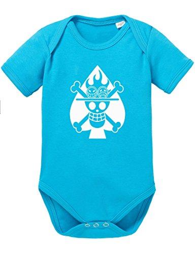 One Piece Ace Skull Fire Totenkopf Pirat Gold Roger Baby Strampler Body Star, Größe:62;Farbe:Türkis