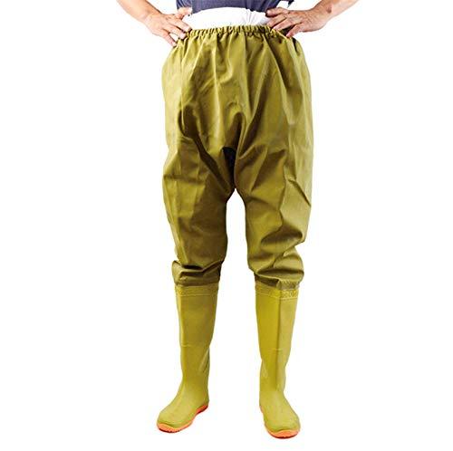 QTDZ Pantaloni Pescatore Uomo Impermeabili Uomo con Stivali Antiscivolo in Gomma, Scarpe da Esterno A Calza A Pedale Multiuso Esterno 110Cm Mänger Angel Stivaletti Watty Pantaloni,Giallo,44 EU
