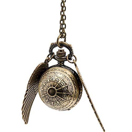 Appearanice Elegante Snitch Quartz Fob Reloj de Bolsillo Colgante Collar Cadena para Hombres Mujeres