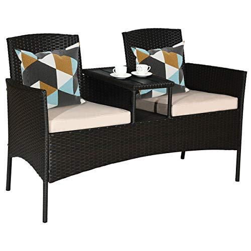 Outdoor Patio Rattan Conversation Set Cushioned Sofa Armrest Loveseat Mix Brown