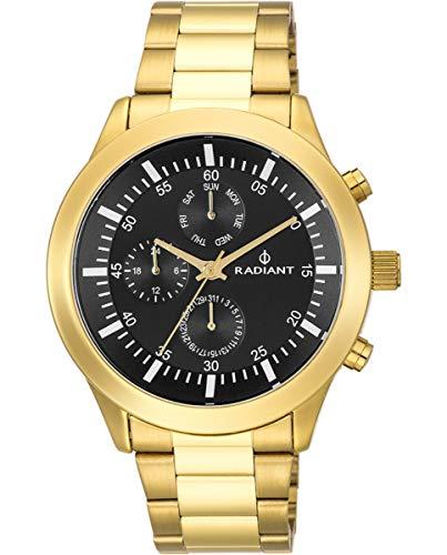 Reloj analógico para Hombre de Radiant. Colección Paela. Reloj Dorado con Brazalete y con Esfera en Negro. 5ATM. 48mm. Referencia RA478702.