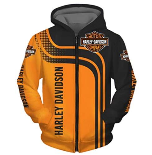 Cronell Story Unisex Langarm Hoodie 3D Digital International H.a.r.l.e.y Davidson Logo Print Sweatshirt Lässiges Sweatshirt (1,L)