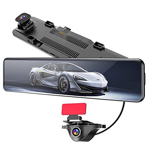 AKEEYOドライブレコーダーミラー型前後カメラSONYセンサーSTARVIS1080PフルHDタッチパネル【2021年最新版業界唯一カメラを切替可能のドライブレコーダー】【12インチ右ハンドル仕様】前後カメラ同時録画サイドカメラ増設可能サイドカメラ対応でき衝撃感知駐車監視エンジン連動ループ録画広角レンズHDR/WDR光度補正リバース連動安全バック補助地