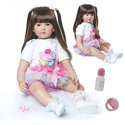 ZIYIUI Bambole Reborn Grandi 24 Pollici 60 Centimetri Realistica Bambole Reborn in Silicone Morbido Capelli Lunghi Reborn Toddler Neonate che Sembrano Vere Ragazza