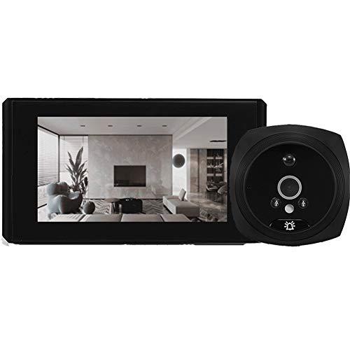 SKTE Cámara De Mirilla De Video Detección De Movimiento Monitor De 4.3'Timbre De Timbre Digital Video-Eye Seguridad Registro De Voz (Color : Black Videoeye 16GB)