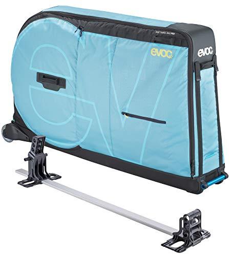 EVOC BIKE TRAVEL BAG PRO Fahrrad Transporttasche geeignet für Flugzeug inklusive Clip-On Wheel + Bike Stand & Frame Pad (310l, max. Radstand 130 cm oder 29 Zoll), Aqua Blue