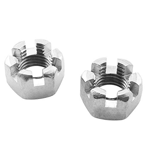 PSCCO 2PCS M16 Stainless Steel Hexagon Slotted Nuts Moto Car Connecting Rod Wheel Alxe Hub Castle Nut
