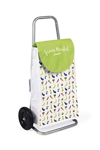 Janod - Chariot de Course Enfant Green Market - Jouet d'imitation Marchande - dès 3 Ans, J06575, Vert et Blanc
