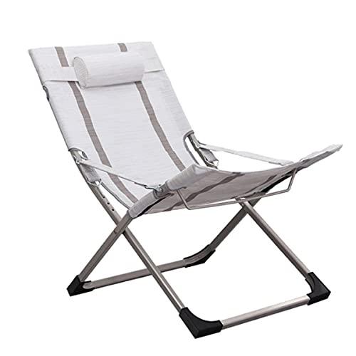 HDZW Sillón reclinable para Exteriores, Respaldo Ajustable, Silla Plegable, Silla portátil de Ocio, con Almohada para la Cabeza