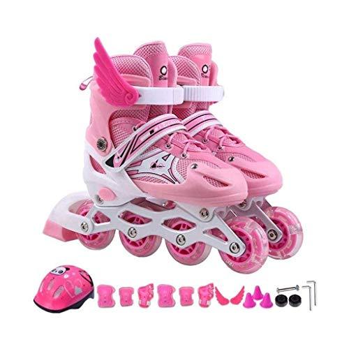 Taoke Inline-Skates, mit veränderbarer Länge und Blitze leuchten Rad, Weiß/Pink Kids Einstellbare Inline Skates (Farbe: Pink, Größe: 33-37code) dongdong (Color : Pink, Size : 3337code)