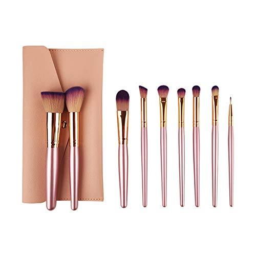 Mosumi Juego de 10 brochas de maquillaje profesional para colorete, base, cejas, nariz, labios, polvo, cosméticos (morado)