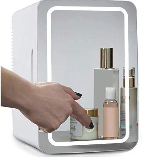 QAZXCV 2 En 1 Mirror De Maquillaje Nevera De Cuidado De La Piel con Luz LED, Calentador Portátil Compacto Mini Refrigerador para Dormitorio, Oficina, Coche para Cuidado De La Piel Y Cosméticos