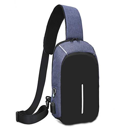 ZHANJIN Primavera Coreano Suave Lienzo Bolso de Pecho, Moda de Moda de Moda Bolsa de Hombro Simple, Puerto de Carga USB,Azul
