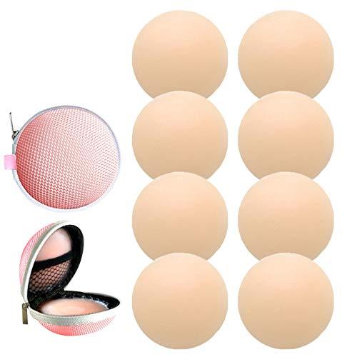 4 pares de cubiertas adhesivas reutilizables para pezones de silicona redonda invisible (4 redondas)