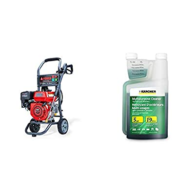 A-iPower APW2700C Gas Powered Pressure Washer 2700 PSI and 2.3 GPM 7HP with 3 Nozzle Attachments, Red & Karcher Multi-Purpose Cleaning Detergent Soap Cleaner for Pressure Power Washer, 1-Quart