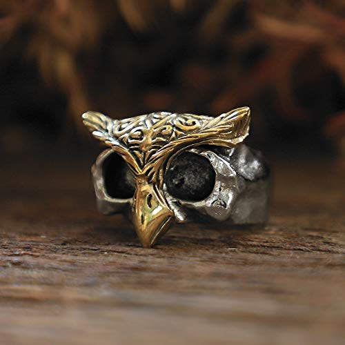 owl gothic Ring sterling silver Bird Brass mask animal Skull Boho biker Celtic