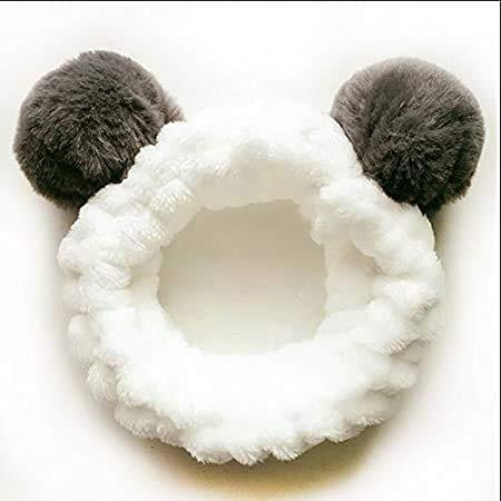Puzzlos Makeup Stirnbänder für Waschen Gesicht,Dusche,Spa Maske, Frauen Mädchen, Plüsch Stirnband Haarschleife,Elastische Korallen Fleece Haarband, mit Niedlichen Pompons Grau (Panda)