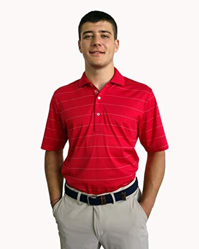 JELFY Alessandro - Polo de Golf pour Homme en Jersey 100% Coton mercerisé Pima, Finement rayé (M, Red)