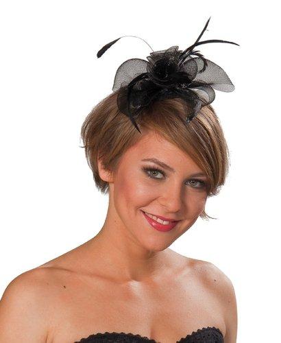NET TOYS Haarreifen Blume schwarz Faschingshut Damen Haarreif Karneval Kopfbedeckung Hut Damenhut Minihut
