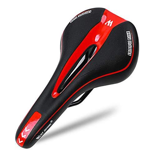 Sillín de Bicicleta Cojín de Silicona Superficie Gel Relleno de sílice Cómodo Ciclismo Asiento de Bicicleta MTB Sillín de Bicicleta a Prueba de Golpes-Rojo_Porcelana