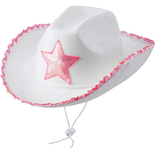 White Cowgirl Hat (Pack Of 2) Felt Princess Hat With Pink Sequin Star, Neck Draw String, for Dress-Up Parties and Play Costume, Fits For Most Girls and Women