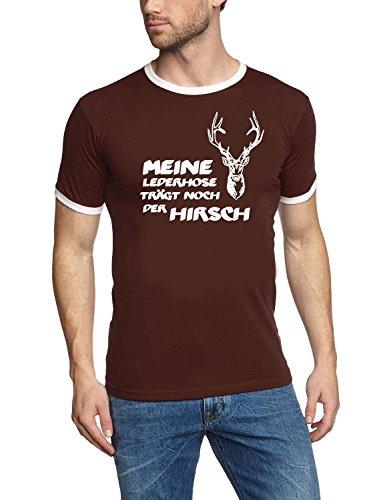 Meine Lederhose trägt noch der Hirsch ! T-Shirt braun_HERI Ringer Gr.XL