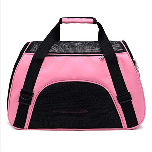 SHDS Pet Backpack Messenger Carrier Bags Cat Dog Carrier Outgoing Travel Packets Breathable Pet Handbag 48x26x31cm rose